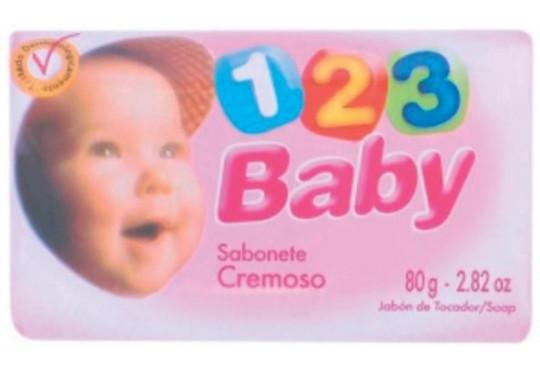 SABONETE BABY 1,2,3 ROSA 12X80GR