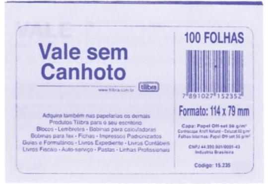 BLOCO RECIBO S/ CANHOTO 50FLH 1 VIA TILIBRA