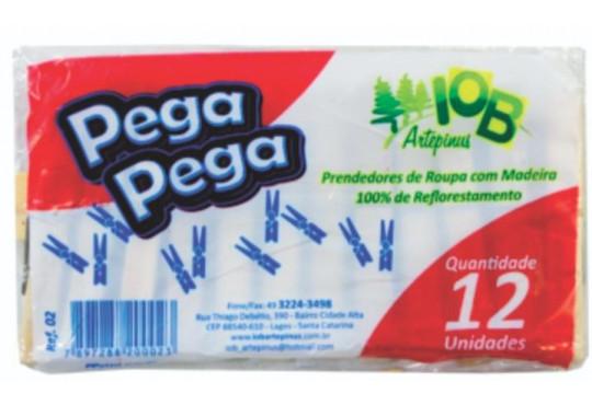 PRENDEDOR DE ROUPA MADEIRA PEGA PEGA C/ 12