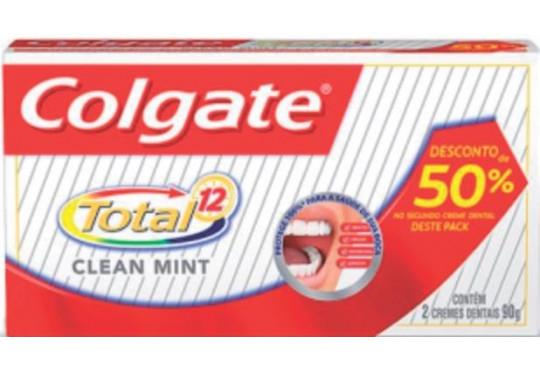 CREME DEN COLGATE TOTAL 12 CLEAN MINT C/ 2X90GR