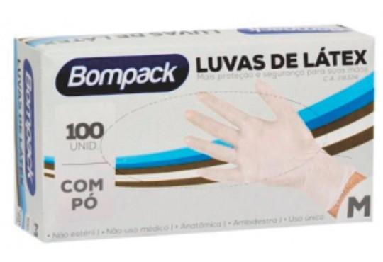 LUVA LATEX BOMPACK PROCEDIMENTO M C/ 100