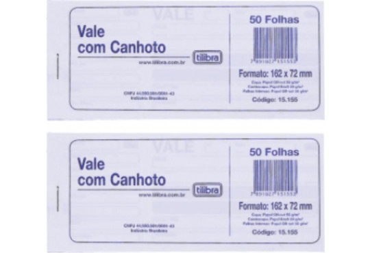 BLOCO VALE C/ CANHOTO 50FLH 1 VIA TILIBRA