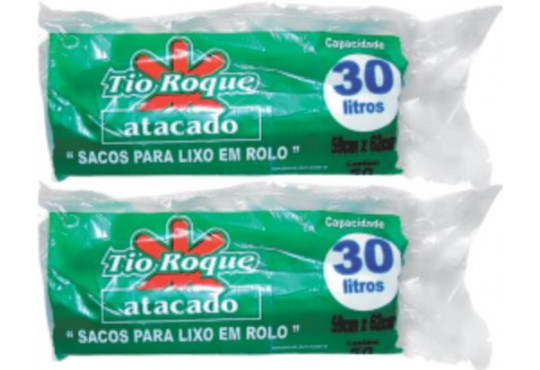 SACO P/ LIXO TIO ROQUEROLO AZUL 30LT C/ 50