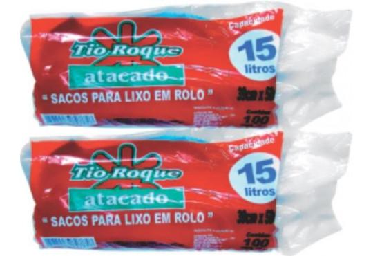 SACO P/ LIXO TIO ROQUEROLO AZUL 15LT C/ 100