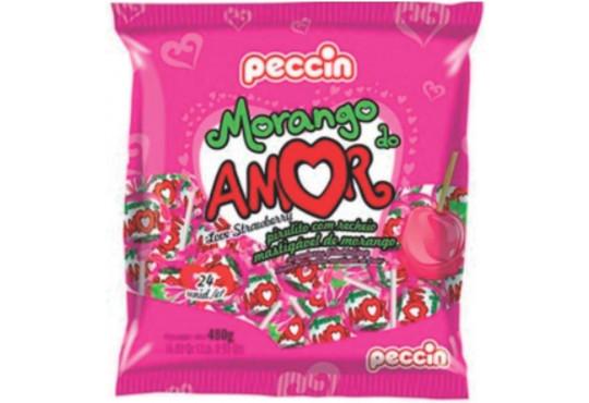 PIRULITO PECCIN MORANGO DO AMOR C/ 24