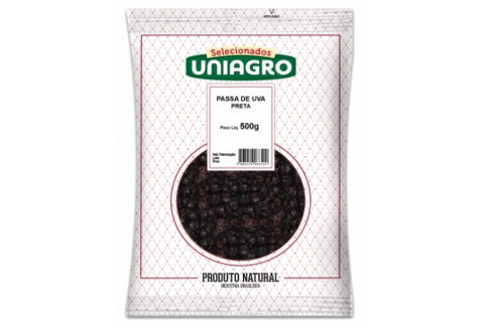 UVA PASSAS PRETA SEM CAROÇO UNIAGRO 500GR