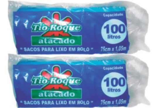 SACO P/ LIXO TIO ROQUEROLINHO AZUL RESIS 100LT C/ 5